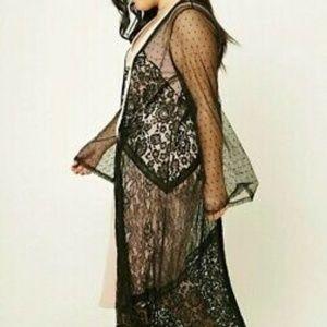 Forever21 Multipurpose Maxi Black Lace Kimono